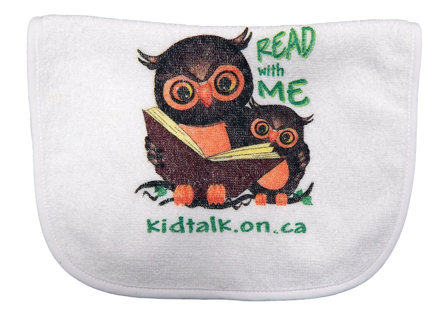 "Image of KidTalk promotional bib with an image of a big owl reading to a little owl and the text ""read to me"""
